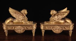 Pair of French Empire Style Gilt Bronze Fire Dogs