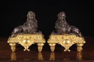 Louis XIV Style Bronze & Gilt Bronze Chenets | Fine Furniture