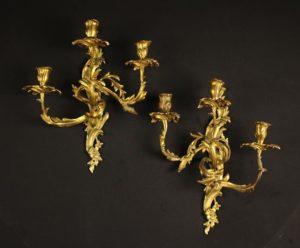 Louis XV Gilt Bronze Wall Sconces | Fine Furniture