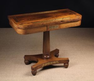 Brass Inlaid Rosewood Card Table | Fine Furniture