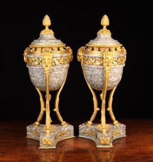 French Marble & Gilt Bronze Cassolettes | Fine Furniture