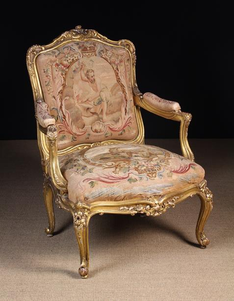 Louis XV Style Carved Giltwood Armchair